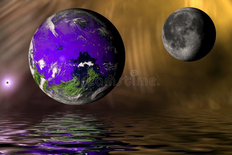 Jord och måne med floden (den frambragda datoren) arkivfoton