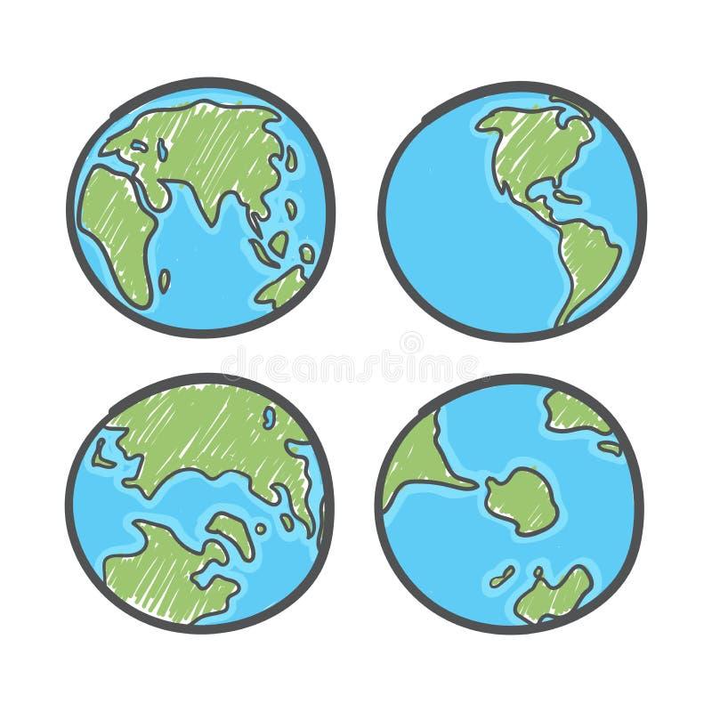 Jord på vit bakgrund Världskarta eller glob i dockformat Global ritningsdag vektor illustrationer