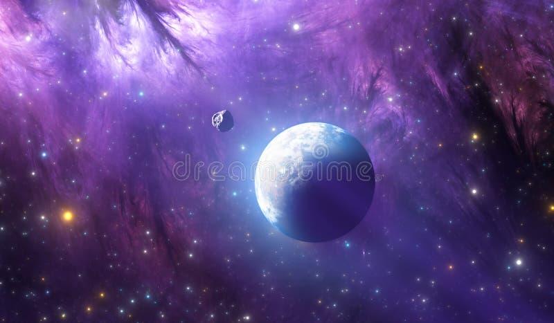 Jord-som den främmande planeten Extrasolar planet från djup yttre rymd royaltyfri illustrationer