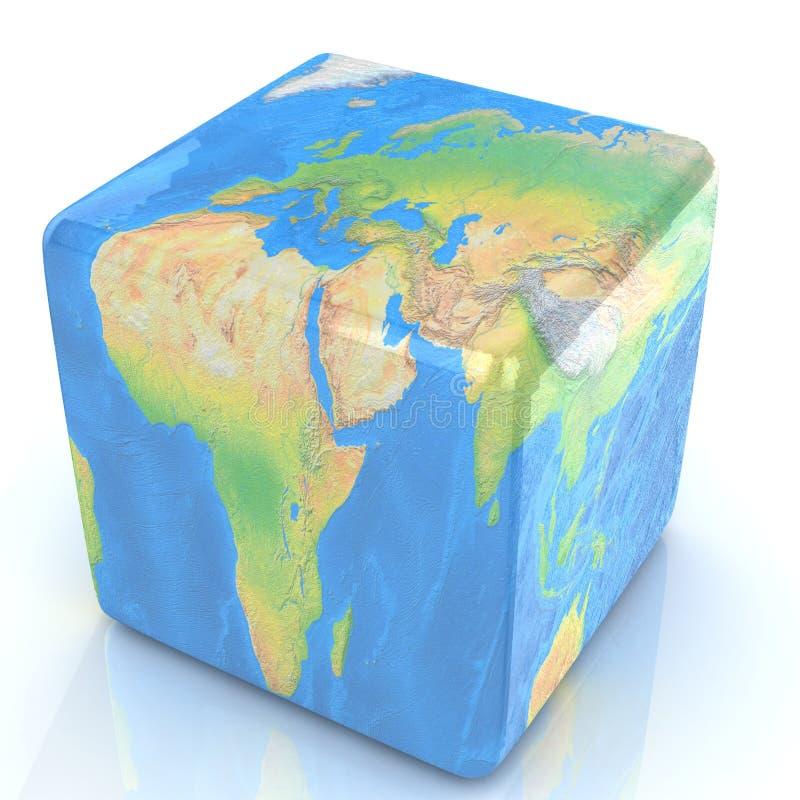 Jord som en kub som isoleras på vit royaltyfri illustrationer
