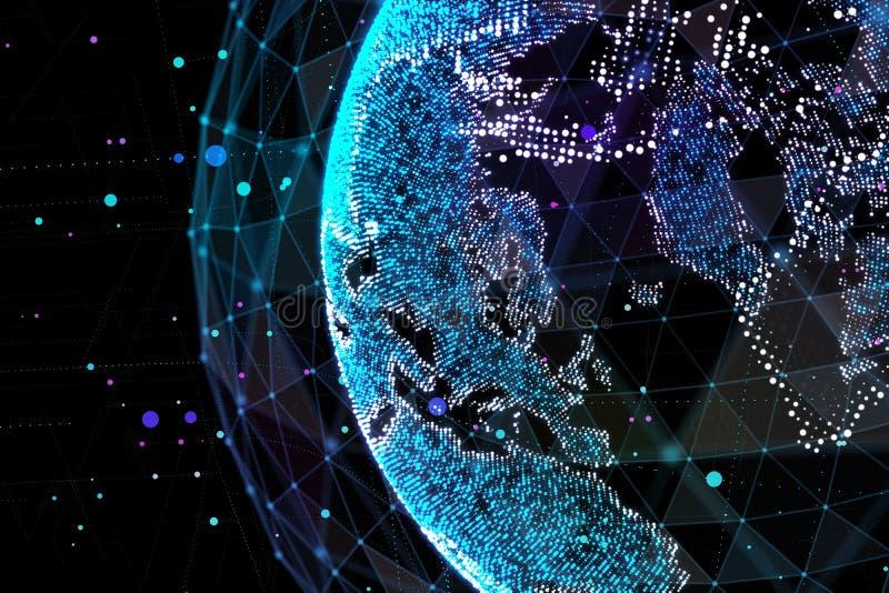 Jord som föreställer anslutning för globalt nätverk, internationell betydelse Datanätverk illustration 3d royaltyfri illustrationer