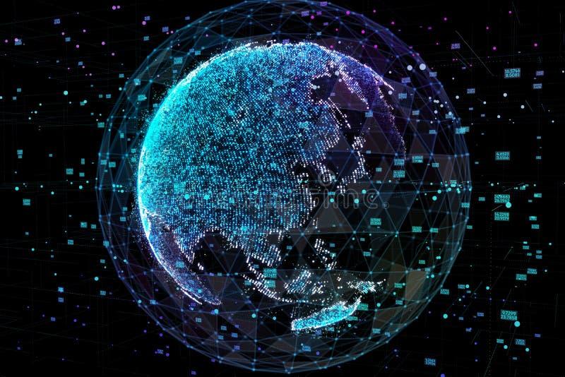Jord som föreställer anslutning för globalt nätverk, internationell betydelse Datanätverk illustration 3d stock illustrationer