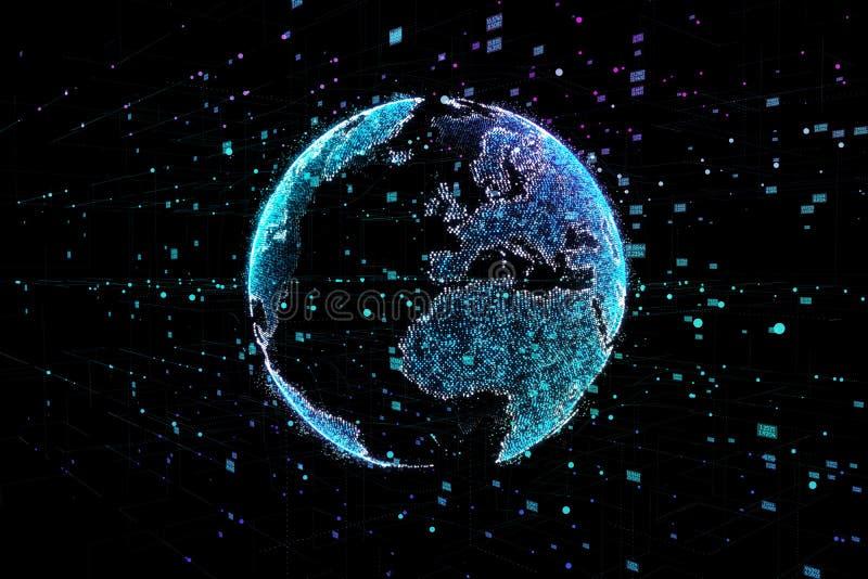 Jord som föreställer anslutning för globalt nätverk, internationell betydelse illustration 3d stock illustrationer