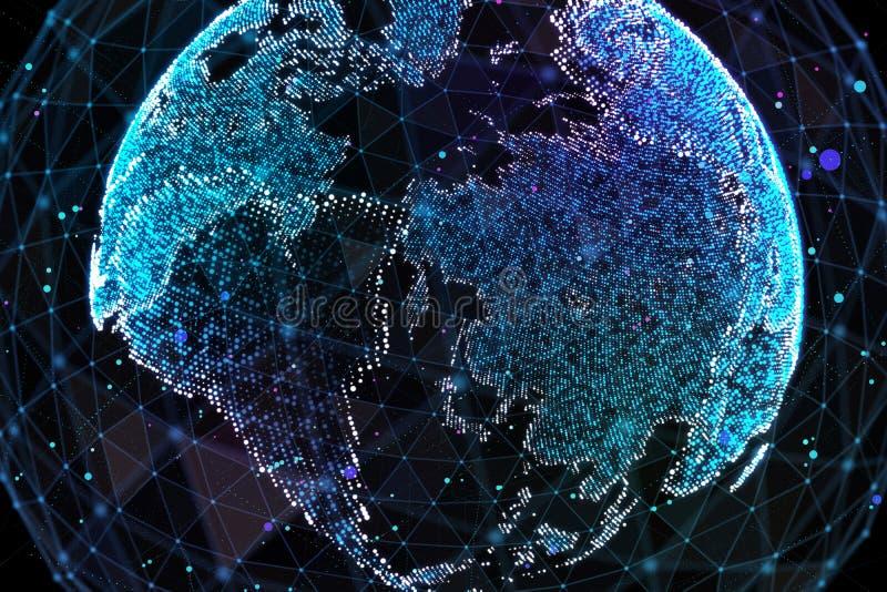 Jord som föreställer anslutning för globalt nätverk, internationell betydelse illustration 3d vektor illustrationer