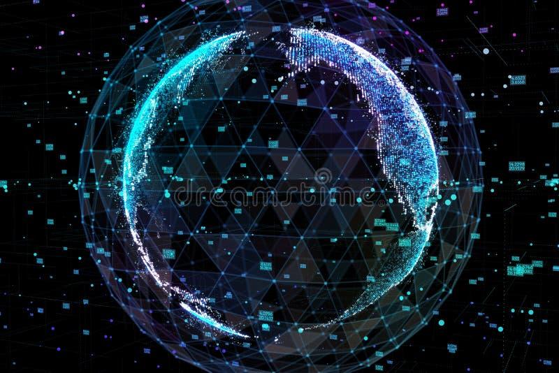Jord som föreställer anslutning för globalt nätverk, internationell betydelse illustration 3d royaltyfri illustrationer