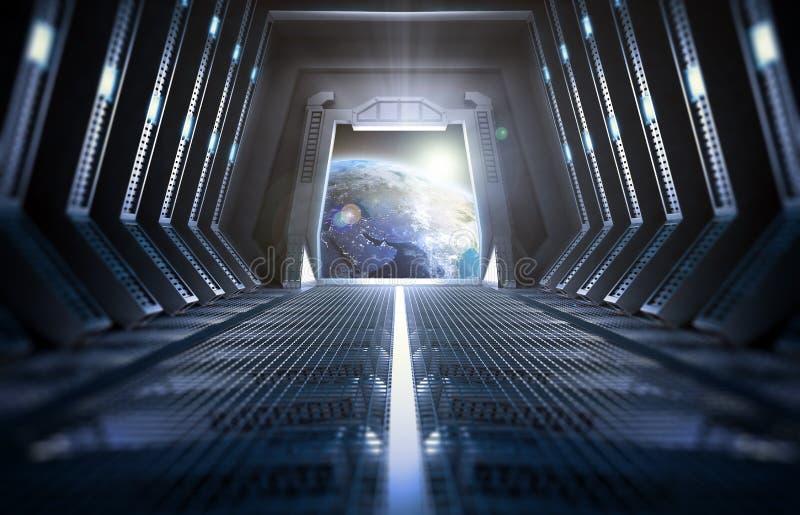 Jord som från inre ses en rymdstation royaltyfri foto