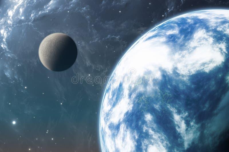 Jord som planeten eller den Extrasolar planeten med månen royaltyfri illustrationer