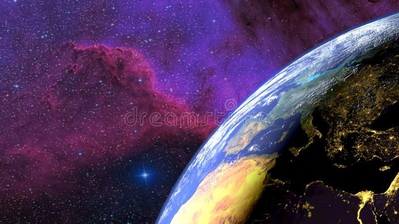 Jord som ses från himlen Övergångsdag - natt Galax i bakgrunden framförande 3d royaltyfri illustrationer