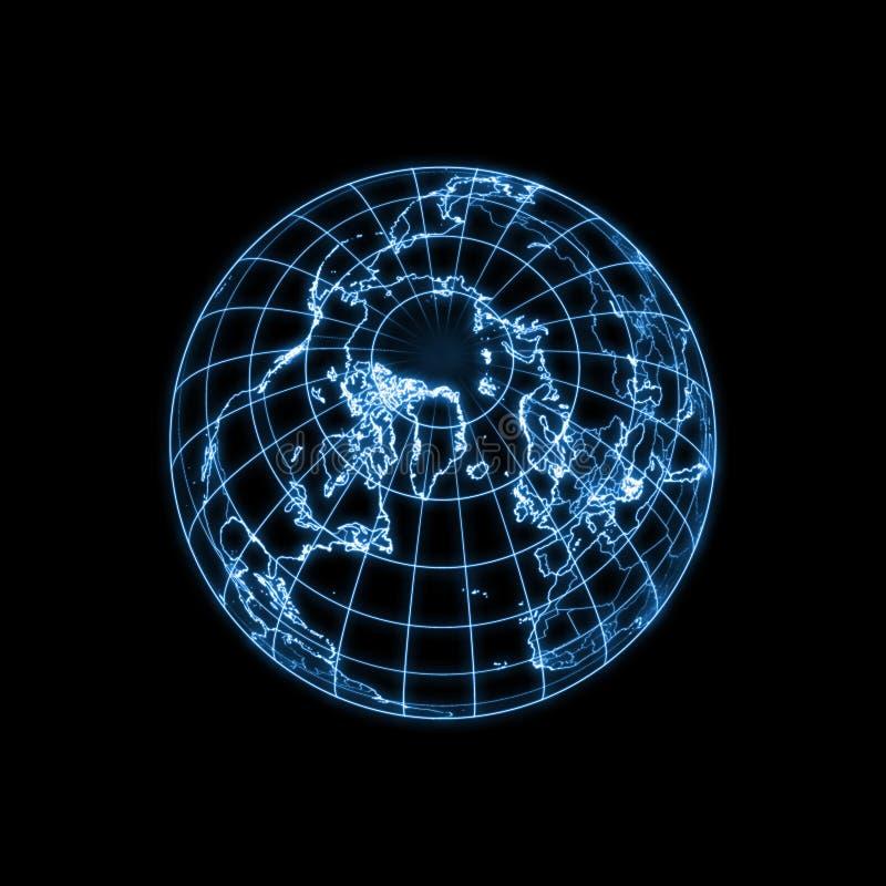 jorda en kontakt den glödande ljusa översiktsöversikten för jordklotet royaltyfri illustrationer