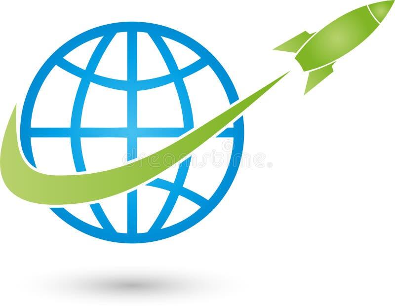 Jorda en kontakt den jordklot- och raket-, trans.- och affärslogoen vektor illustrationer