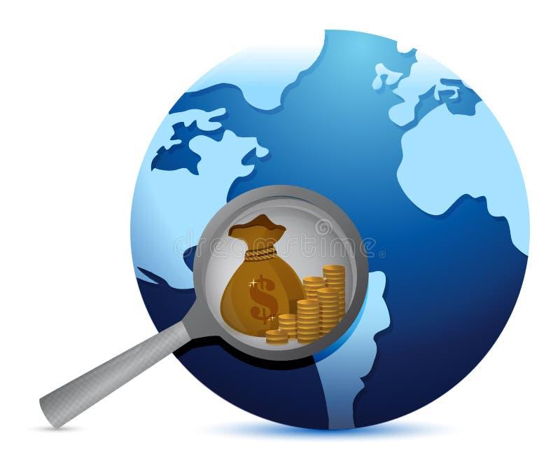Jorda en kontakt jordklotet och förstora exponeringsglas som söker för guld vektor illustrationer