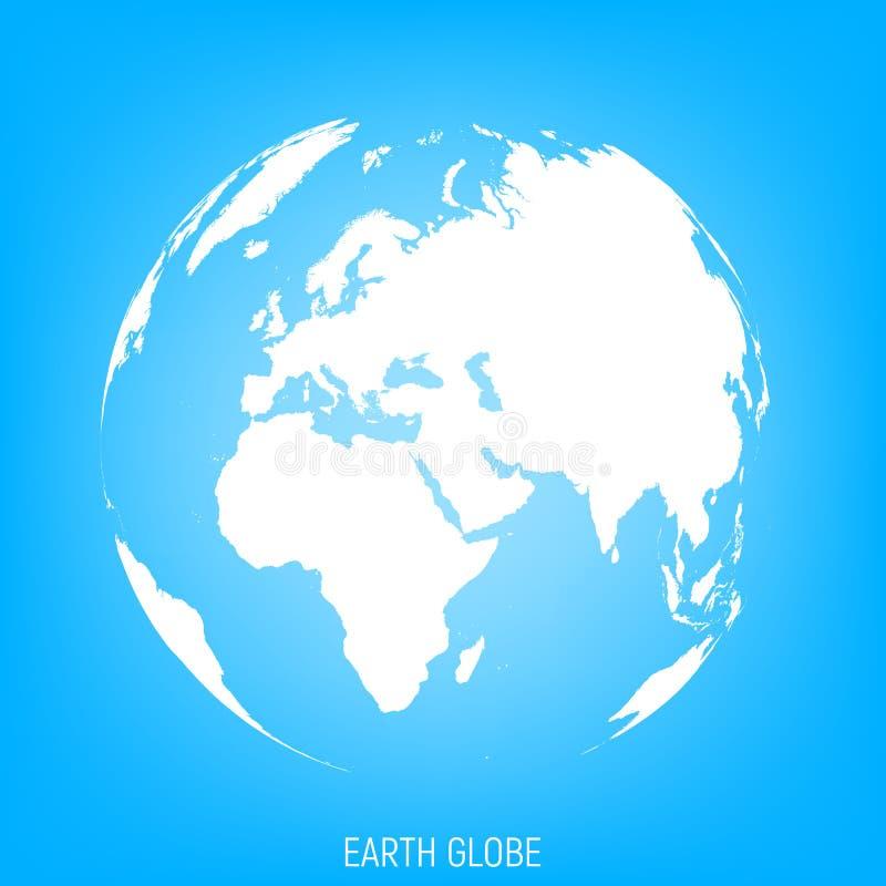 jorda en kontakt jordklotet Sikt på Europa, Afrika och delen av Asien vektor illustrationer