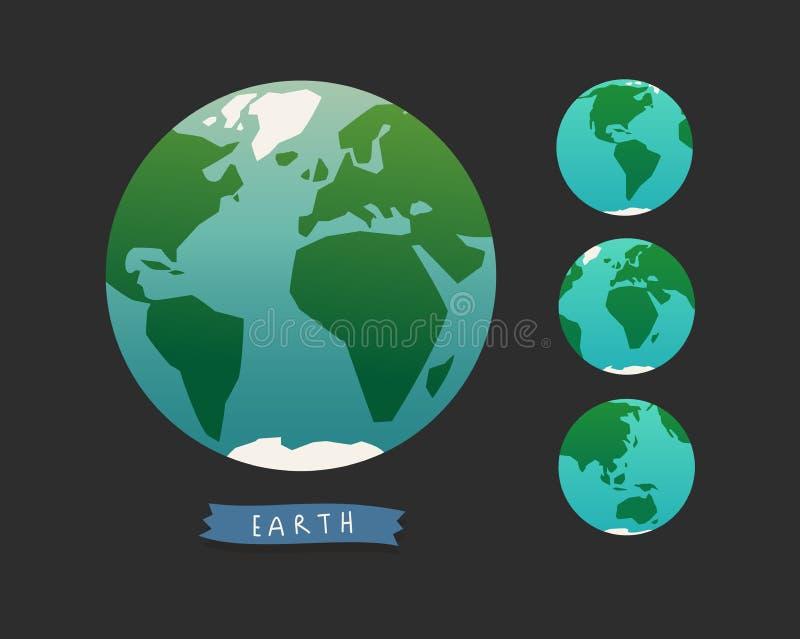 jorda en kontakt jordklotet Världskartauppsättning vektor illustrationer
