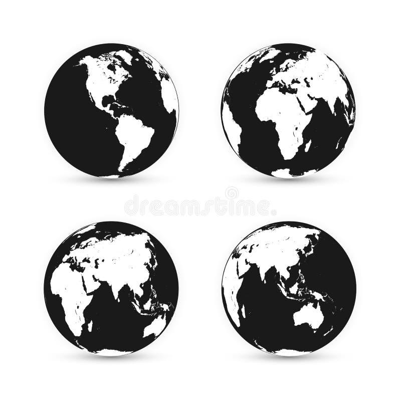 jorda en kontakt jordklotet Världskartauppsättning Planet med kontinenter också vektor för coreldrawillustration stock illustrationer