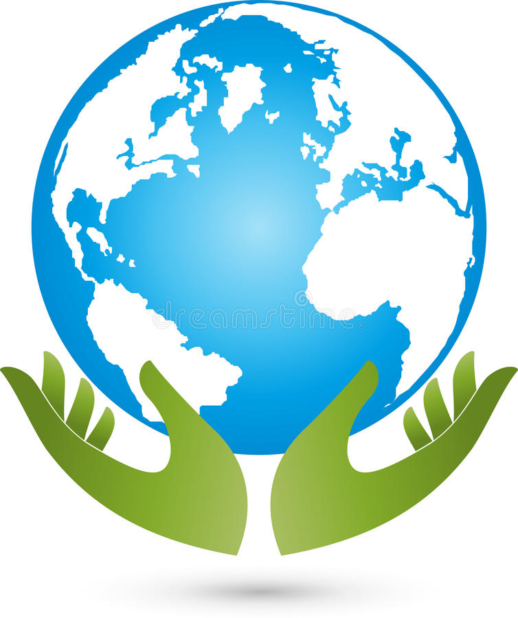 Jorda en kontakt och händer, det färgade jordklotet, jord och ekonomilogoen vektor illustrationer