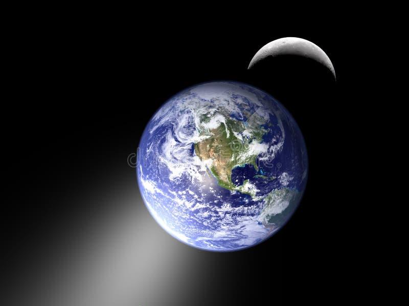 Jorda en kontakt och moon i det sol- systemet för förmörkelse royaltyfri illustrationer