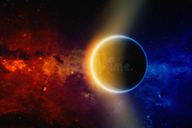 jorda en kontakt planetavstånd fotografering för bildbyråer