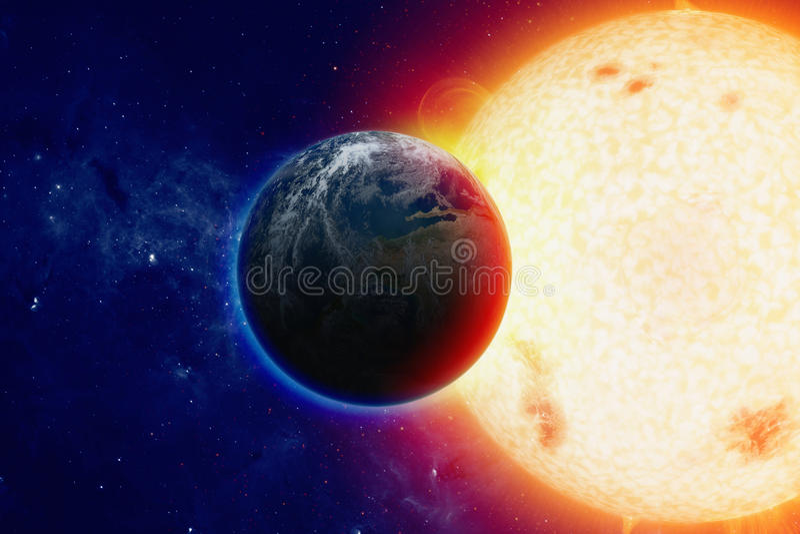 jorda en kontakt planetavstånd royaltyfri foto