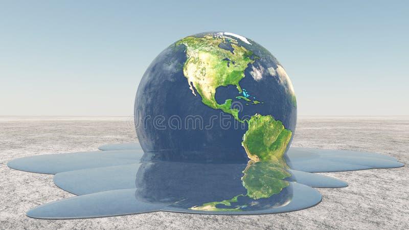 Jorda en kontakt smältning in i vatten vektor illustrationer
