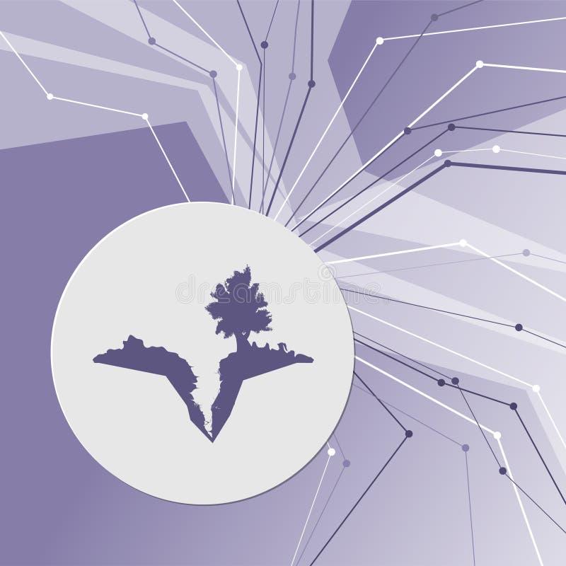 Jorda en kontakt sprickan, splittring i symbol på modern bakgrund för lilaabstrakt begrepp Linjerna sammanlagt riktningar Med rum royaltyfri illustrationer