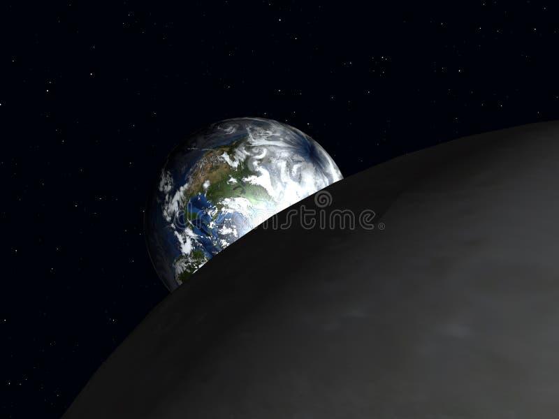 Jorda en kontakt till moonen 4 stock illustrationer