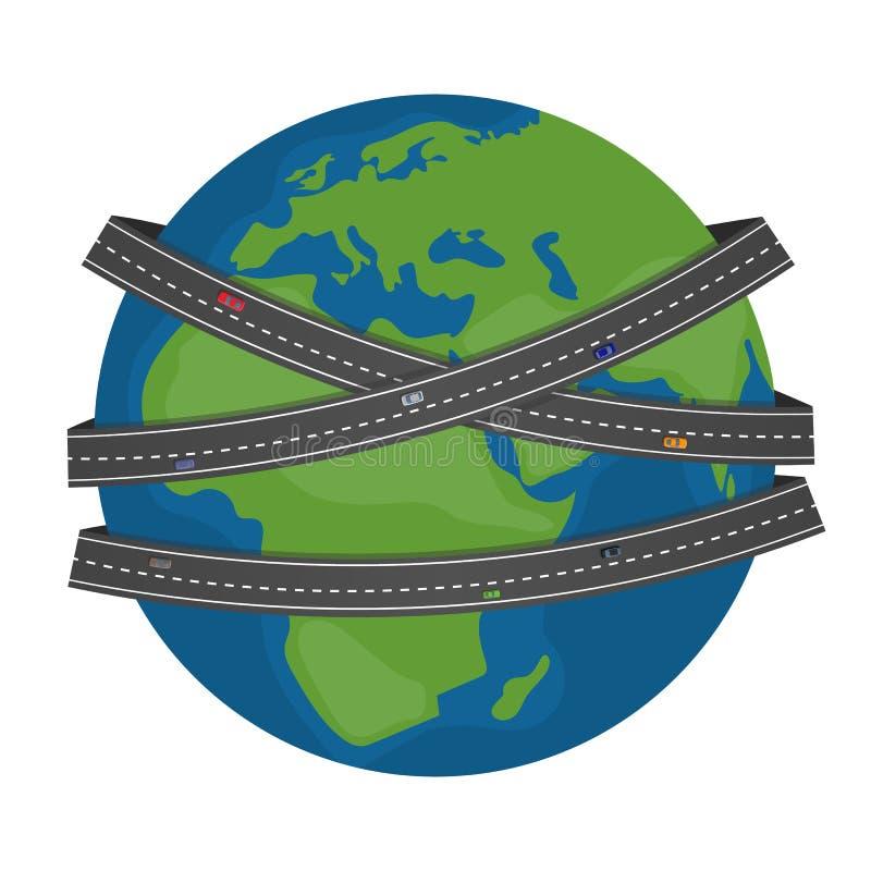 Jorda en kontakt världsplaneten som omges av vägar med bilar som isoleras på w stock illustrationer