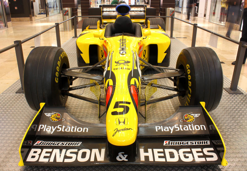 Jordan 198 formula 1 car. Exhibition of formula one car Jordan 198 in a mall stock images