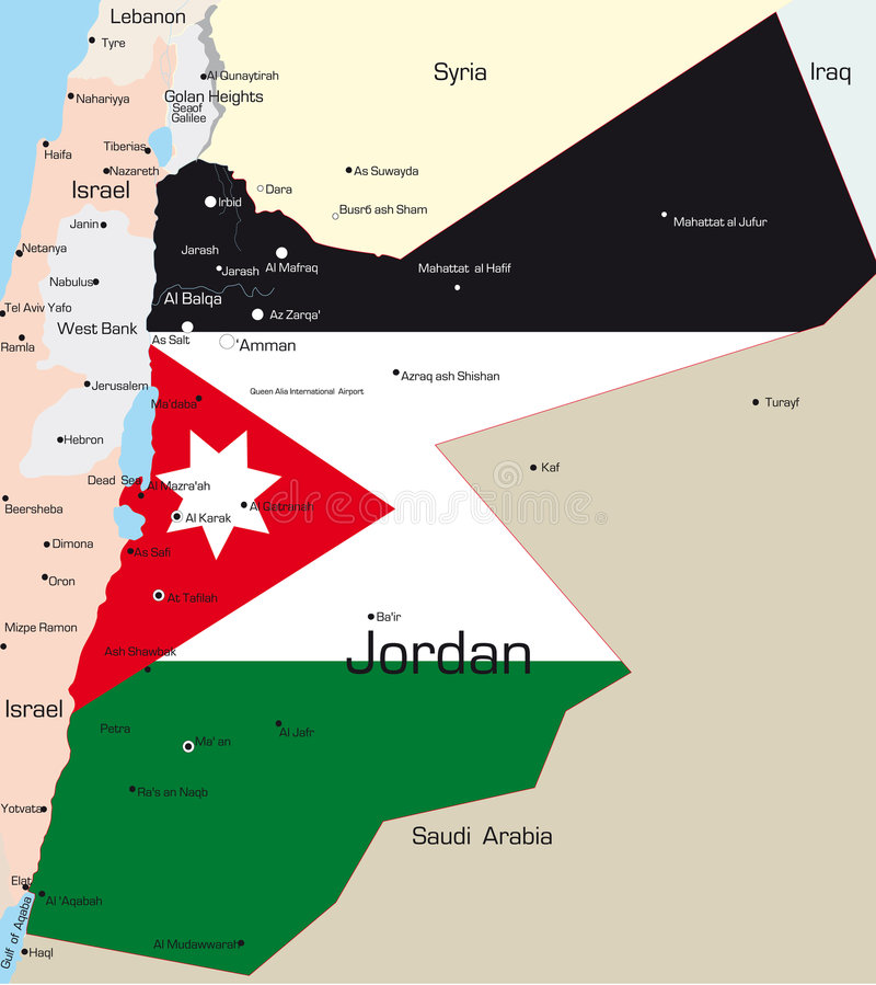 Jordan. Abstract vector color map of Jordan country colored by national flag royalty free illustration