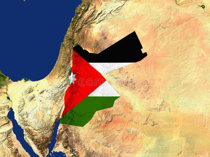 Jordan. Highlighted Satellite Image Of Jordan With The Countries Flag Covering It royalty free illustration