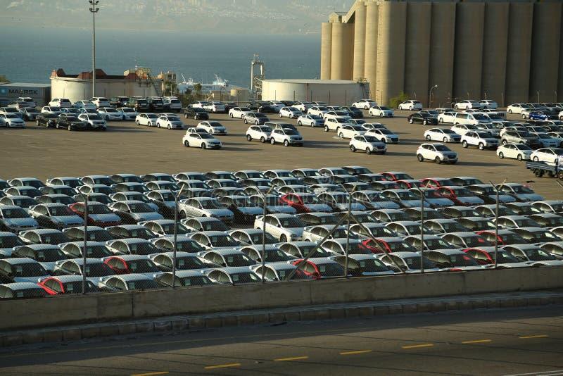 New cars in Aqaba sea port, Jordan royalty free stock photography