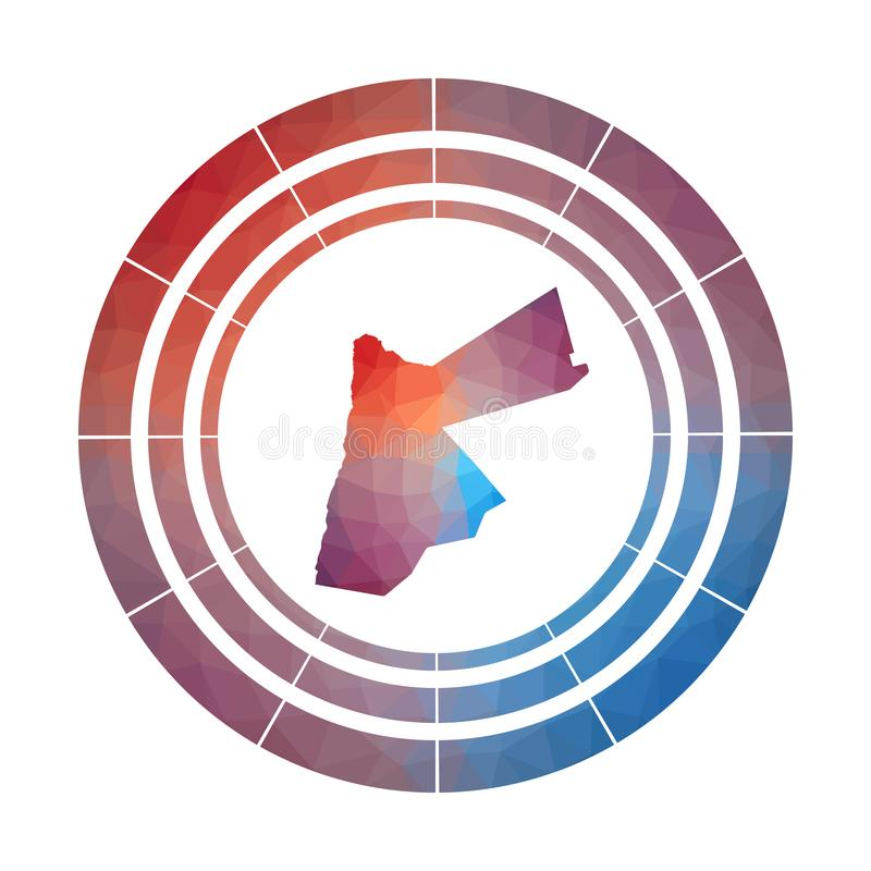 Jordan badge. Bright gradient logo of country in low poly style. Multicolored Jordan rounded sign with map in geometric style for your infographics vector illustration