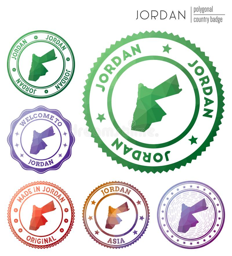 Jordan badge. Colorful polygonal country symbol. Multicolored geometric Jordan logos set. Vector illustration vector illustration