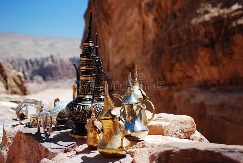 Jordan coffee pots view royalty free stock photos