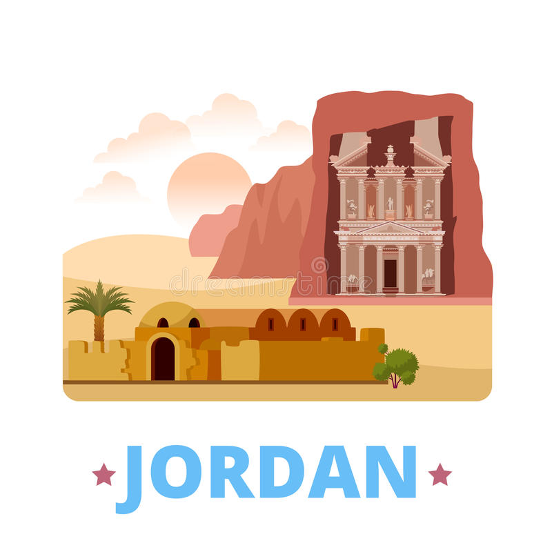 Jordan country design template Flat cartoon style. Jordan country fridge magnet design template. Flat cartoon style historic sight showplace web site vector