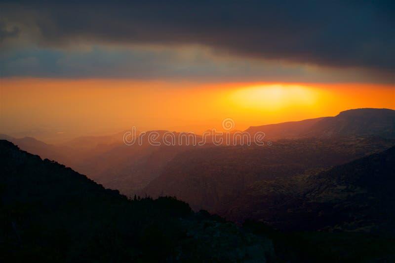 Jordan Dana Biosphere Reserve aftonpanorama fotografering för bildbyråer