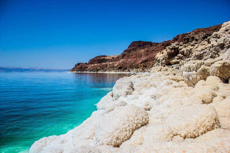 Jordan Dead Sea Salt Tourist Location. The Lowest Place On Earth, The Dead Sea Jordan Tourist Location royalty free stock photo