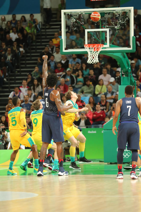 Jordan DeAndre number 6 of team United States in action during group A basketball match between Team USA and Australia. RIO DE JANEIRO, BRAZIL - AUGUST 10, 2016 royalty free stock photo