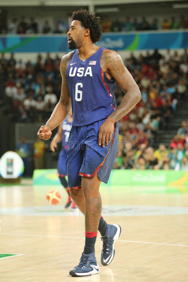 Jordan DeAndre of team United States in action during group A basketball match between Team USA and Australia. RIO DE JANEIRO, BRAZIL - AUGUST 10, 2016: Jordan stock images