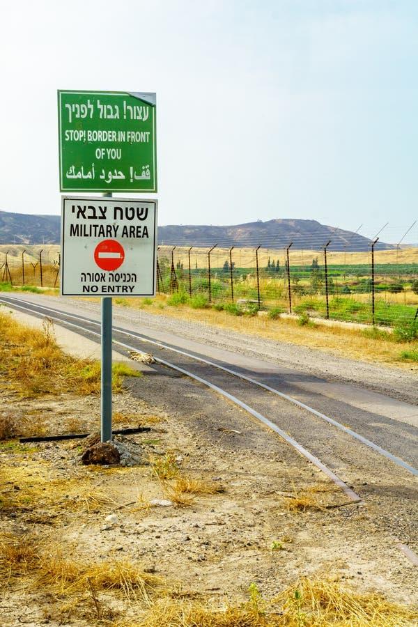 Jordan dolina i granica znaki ostrzegawczy, zdjęcia stock