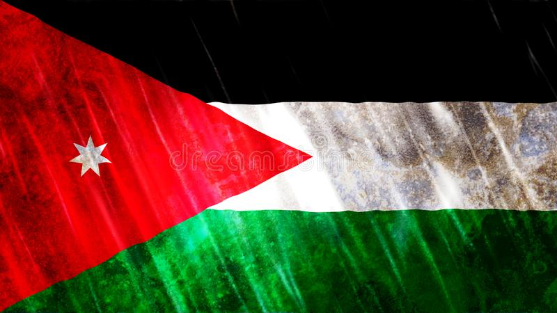 Jordan Flag. For Print, Wallpaper Purposes, Size : 7680  x 4320 Pixels, 300 dpi, Jpg Format stock illustration