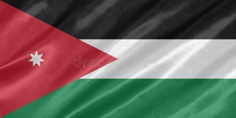 Jordan Flag. With waving on satin texture stock illustration