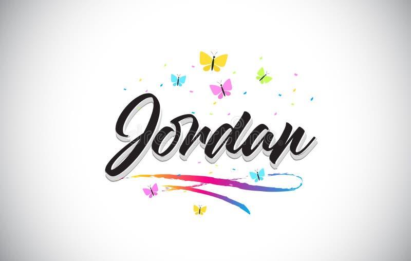 Jordan Handwritten Vector Word Text con le farfalle e variopinto mormorano illustrazione vettoriale