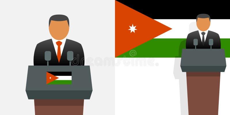 Jordan king and flag. Jordan king and national flag vector illustration
