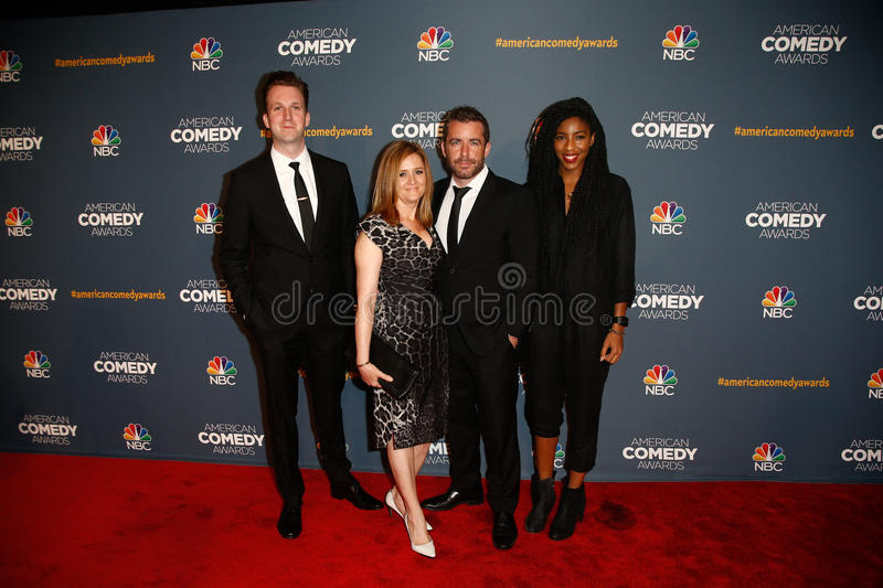 Jordan Klepper, Samantha Bee, Jason Jones, Jessica Williams royalty-vrije stock foto