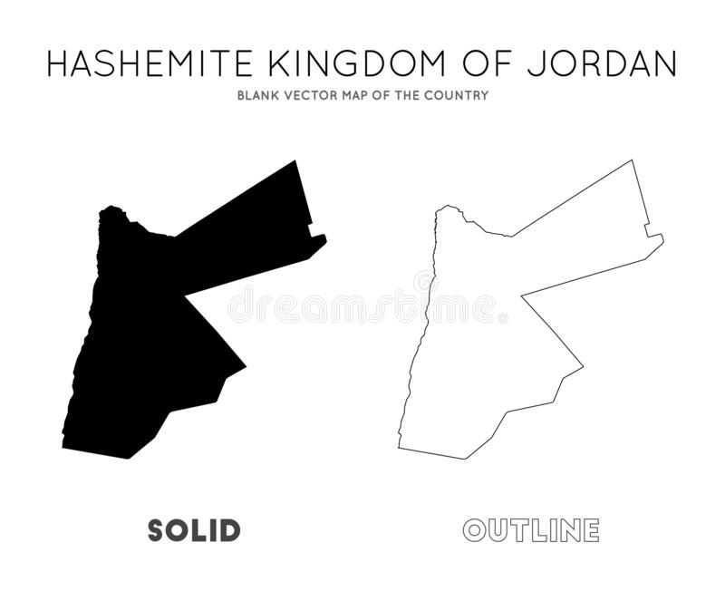 Jordan map. Blank vector map of the Country. Borders of Jordan for your infographic. Vector illustration royalty free illustration