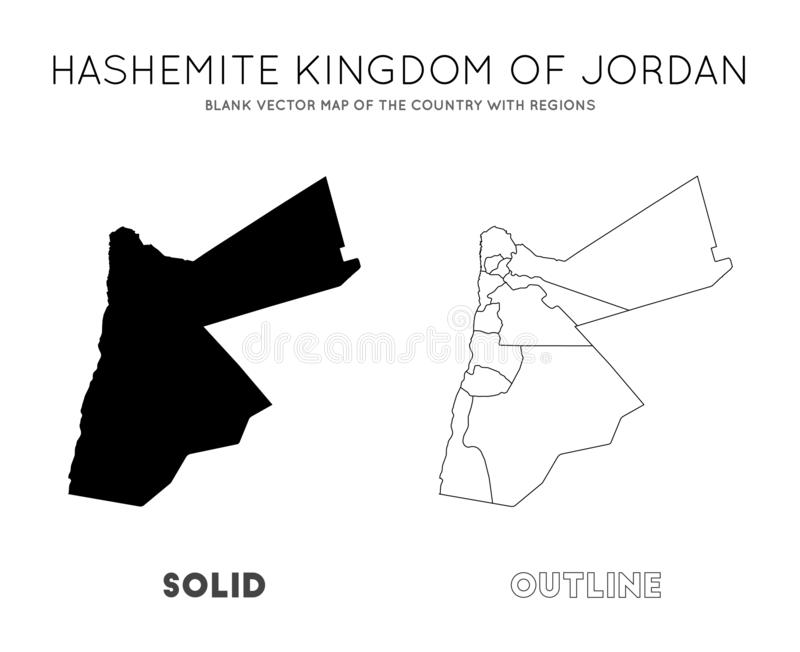 Jordan map. Blank vector map of the Country with regions. Borders of Jordan for your infographic. Vector illustration stock illustration