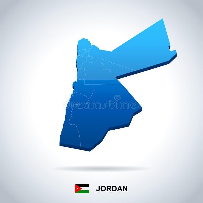 Jordan Map And Flag Detailed Vector Illustration Stock