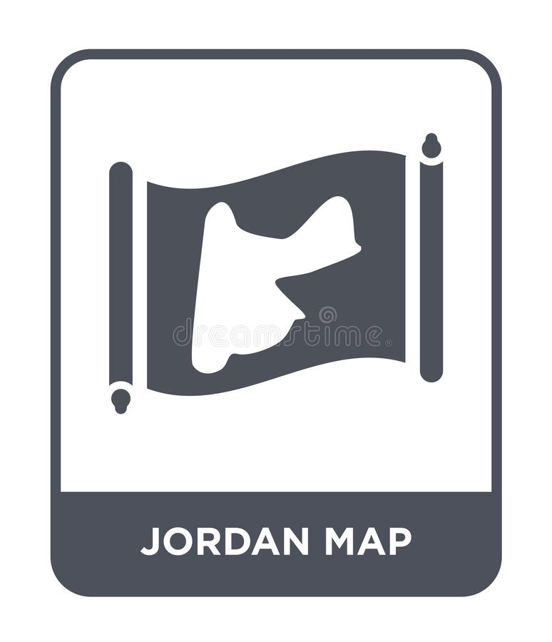 Jordan map icon in trendy design style. jordan map icon isolated on white background. jordan map vector icon simple and modern. Flat symbol for web site, mobile royalty free illustration