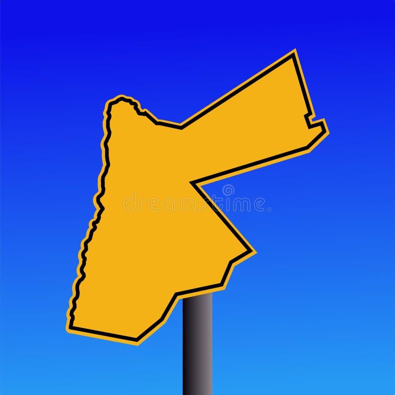 Jordan map warning sign. Yellow Jordan map warning sign on blue illustration royalty free illustration