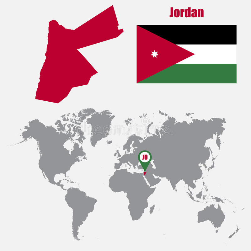Jordan Map On A World Map With Flag And Map Pointer Vector